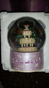 WEDDING SNOW GLOBE  WEDDING CAKE TO HAVE AND TO HOLD LOGO NEW BOXED NICE GIFT