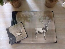 New Set Of 6 Shabby Chic Country Style Stag Place Mats And Coasters Set