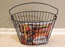 Magazine Rack / Basket- Nylon Coated Wire w Handle - Black 12 x 8 x 15