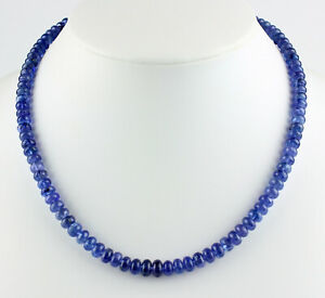 Classy Tanzanite Necklace Gemstone Blue Rondelle Aa Quality Women's 18 1/8in