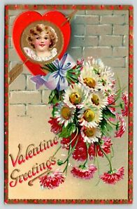 Valentine~Brundage Girl Heart~Gold Arrow~Pink White Daisies~TUCK Floral Missives