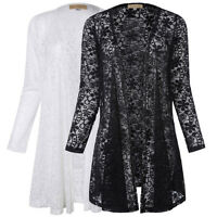 Women Summer Long Sleeve Lace Floral Casual Cardigan Coat Jacket Blouse Tops R1