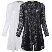 Women's Long Sleeve Lace Floral Crochet Casual Cardigan Coat Jacket Blouse Tops