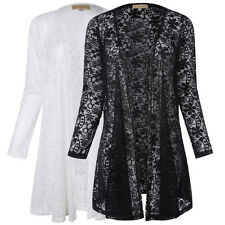 Women Summer Long Sleeve Lace Floral Casual Cardigan Coat Jacket Blouse Tops New
