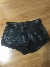 AUTHENTIC R13 Black Leather Hot Shorts Sample Size 4 /6 27 28 CHECK MEASUREMENTS