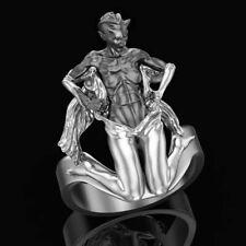 Mensch Teufel Transformation Zweifarbig 925 Silber Oxidierte Herren Biker Ring