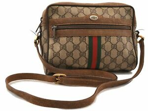 Auth GUCCI Web Sherry Line Shoulder Cross Body Bag GG PVC Leather Brown 0617A