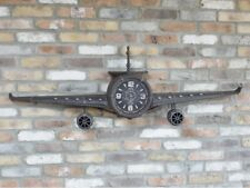 Black Retro Aeroplane Clock Industrial Propeller Wall Display Ornament