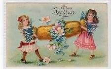 """A HAPPY NEW YEAR"": Embossed greetings postcard (C15506)"