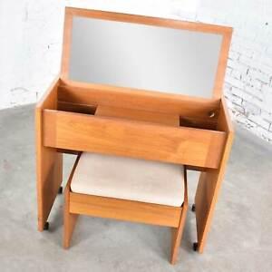 Scandinavian Modern Teak Flip Open Rolling Make Up Vanity w/ Mirror & Bench