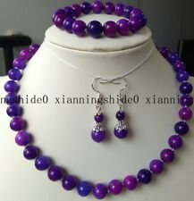 """Fashion 10MM AFRICA SUGILITE GEMS BEADS NECKLACE 18"""" EARRINGS SET AAA"""