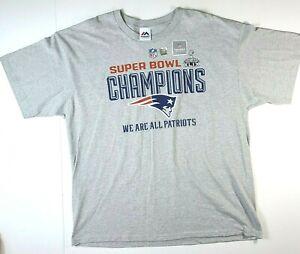 Men's Size 2X Large New England Patriots Gray Super Bowl XLIX Champions T Shirt