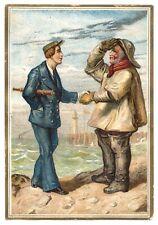 """OLD NAVY"" (1885) ""SALUTE THE UNIFORM"" Victorian Trade Card - *FLEET LIGHTHOUSE*"