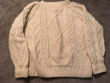 """Saks Fitfh Avenue Hand Knitted Heavy Wool Cream Sweater 44"""", Made In Ireland"""