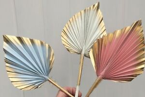 White,Pink Blue and Gold Dried Palm Spear Leaves,Cake Toppers.