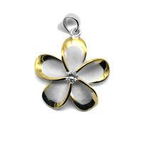 925 Sterling Silver Hawaiian Fancy Plumeria Pendant Cute Flower Hawaii CZ Edge