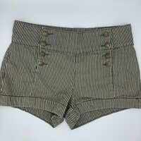Forever 21 Womens High waist Army Green Stripe Denim Jean Shorts Size 28