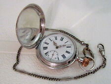 Antique Swiss Art Deco Silver & Blacking Men's Pocket Watch Serviced & Runs