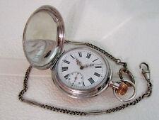 Antique Swiss Amazing Art Deco Silver & Blacking Men's Pocket Watch SERVICED