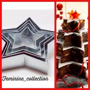 PROFESSIONAL HEAVY DUTY 4 TIER STAR CHRISTMAS WEDDING CAKE BAKING TINS PANS