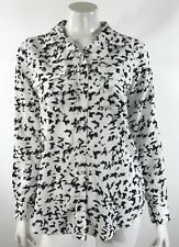 Dalia Collection Top Size Medium White Black Blouse Long Sleeve Button Up