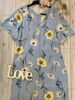 M&S Size 16 blue floral floaty shift dress loose fit wedding races party holiday