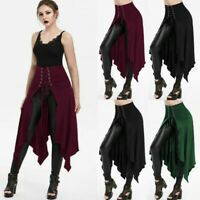 Fashion Women Halloween Gothic Punk Asymmetric Lace-up Slit Skirt A-Line Skirt
