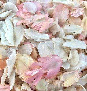 Flutterfall® Ivory & Coral (pink/peach) Biodegradable Wedding Confetti Petals 1L