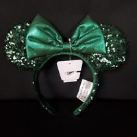 Disney Parks Emerald Green Sequin Minnie Mouse Ears Headband Earband New In Hand