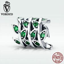 Voroco New 925 Sterling Silver Green Leaf Charm Bead Fit Stylish Women Bracelet