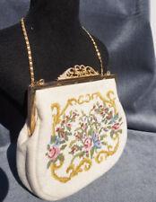 Maria Stransky Needlework Embroidery Lady Purse Vanity Handbag Petit-point Bag