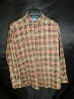 Pendleton L Brown Blue Red Plaid Wool Shirt Chest Pocket Button Front Mens Lg