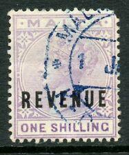 Malta revenue 1899 1s violet QV one shilling fiscal overprint