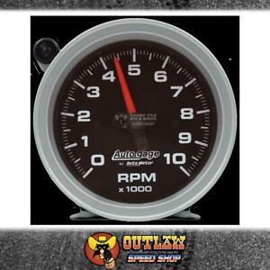 """AUTOGAGE 3-3/4"""" TACHO PEDESTAL 10,000 RPM BLACK W/ EXT SHIFT LIGHT - AU233908"""