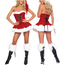 Sexy Women Christmas Fancy Dress Santa Claus Velvet Costume Outfit Set Xmas Gift