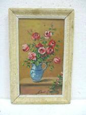 """Tableau, peinture  : """" Pot de fleurs """" signé"""