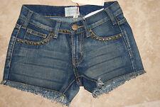 NWT $299 Blue Denim CURRENT ELLIOT Stretch Frayed Jean Shorts w/Metal Studs 25