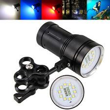 12000LM Fotografie Video 10xXM-L2+4x Rot+4xBlau LED Tauchen Lamp Torch  Mount