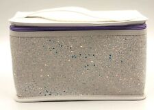 Clinique Makeup Cosmetic Train Case Bag Glitter ~ White/Purple ~ with Handle