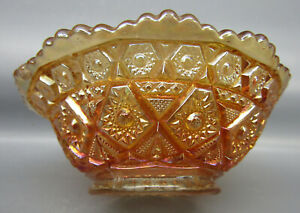 "Imperial DIAMOND LACE Marigold Carnival Glass Round 4½"" Berry Bowl 7282"