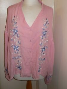 L Pink Smocked Peasant Blouse Blue/White Embroidered Flowers BNWT