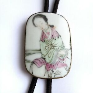 Vintage Hand Painted Porcelain & Brass Chinese Bolo Tie with Brown String