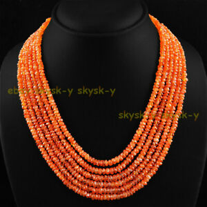 NATURAL 6 STRAND 2X4MM RICH ORANGE CARNELIAN FACETED BEADS NECKLACE 17-22''