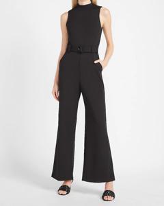 nwt EXPRESS mock neck belted wide leg jumpsuit xs s black
