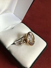 New AN 925 Sterling Silver 2 Colors Womens Ring Size 9 Large Stone 15mm 6,5g
