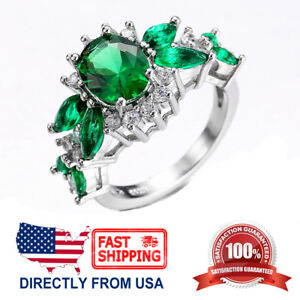 Women's White Gold Plated Green-Emerald Cubic Zirconia Cocktail Engagement Ring