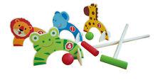 Childrens Wooden Animal Croquet Set Garden Lawn Ball Games 2x Play Sticks 101363