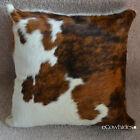 Cowhide Tricolor Pillowcase Hide Cushions Skin Leather