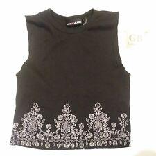 L Size Girls Youth Shirt DKNY brand Black Tank Top w/ Floral Pressing -416-