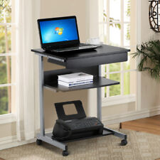 Wood Mobile Laptop Cart Rolling Computer Table Stand Portable Home Office Table